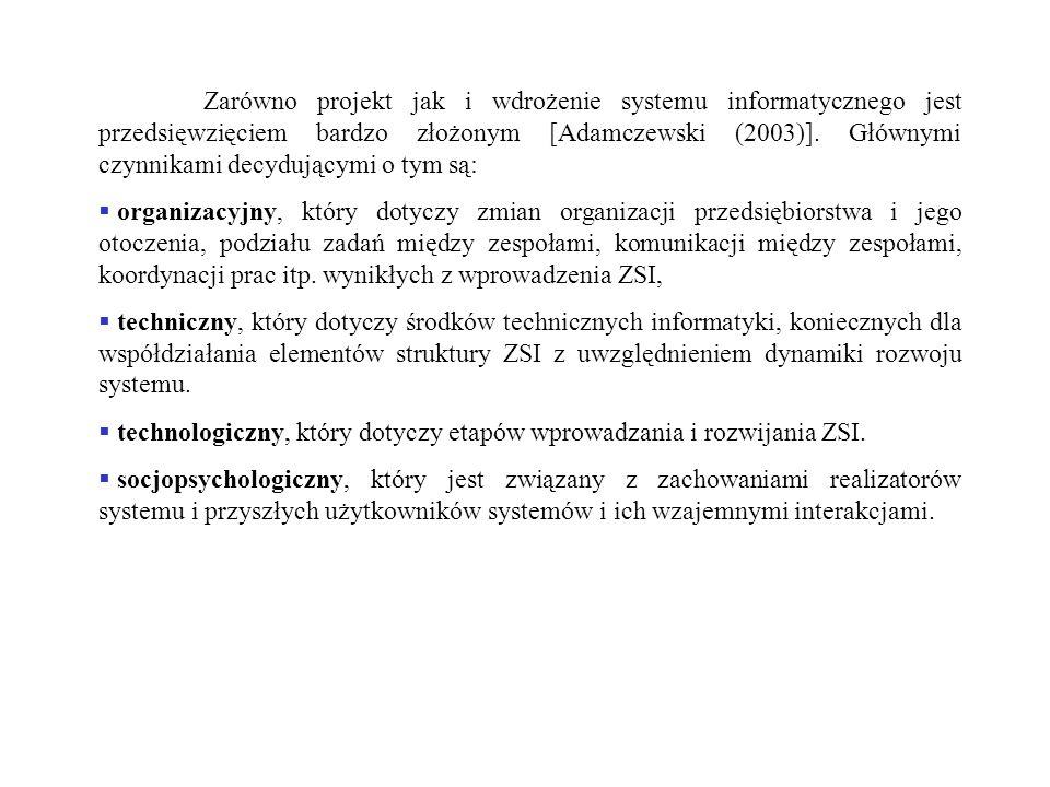 Zarówno projekt jak i wdrożenie systemu informatycznego jest przedsięwzięciem bardzo złożonym [Adamczewski (2003)]. Głównymi czynnikami decydującymi o tym są: